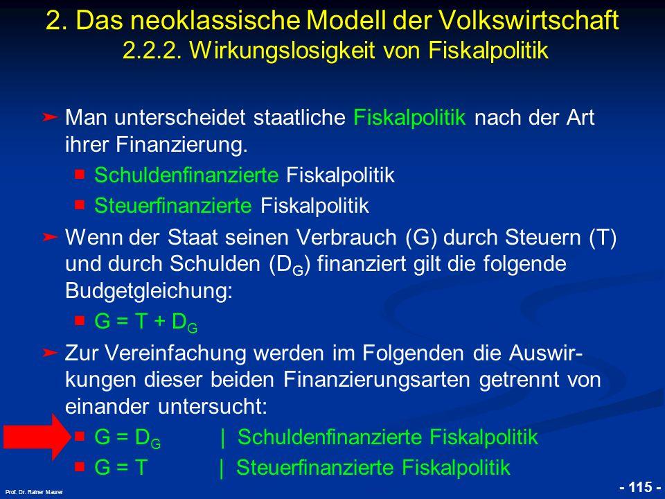 © RAINER MAURER, Pforzheim - 115 - Prof. Dr. Rainer Maurer Man unterscheidet staatliche Fiskalpolitik nach der Art ihrer Finanzierung. Schuldenfinanzi