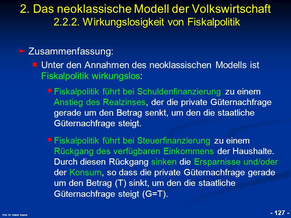 © RAINER MAURER, Pforzheim - 127 - Prof. Dr. Rainer Maurer 2. Das neoklassische Modell der Volkswirtschaft 2.2.2. Wirkungslosigkeit von Fiskalpolitik
