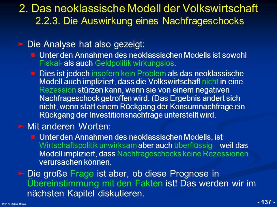 © RAINER MAURER, Pforzheim - 137 - Prof. Dr. Rainer Maurer Die Analyse hat also gezeigt: Unter den Annahmen des neoklassischen Modells ist sowohl Fisk