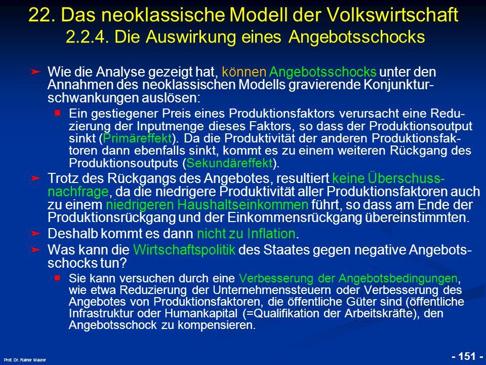 © RAINER MAURER, Pforzheim - 151 - Prof. Dr. Rainer Maurer Wie die Analyse gezeigt hat, können Angebotsschocks unter den Annahmen des neoklassischen M