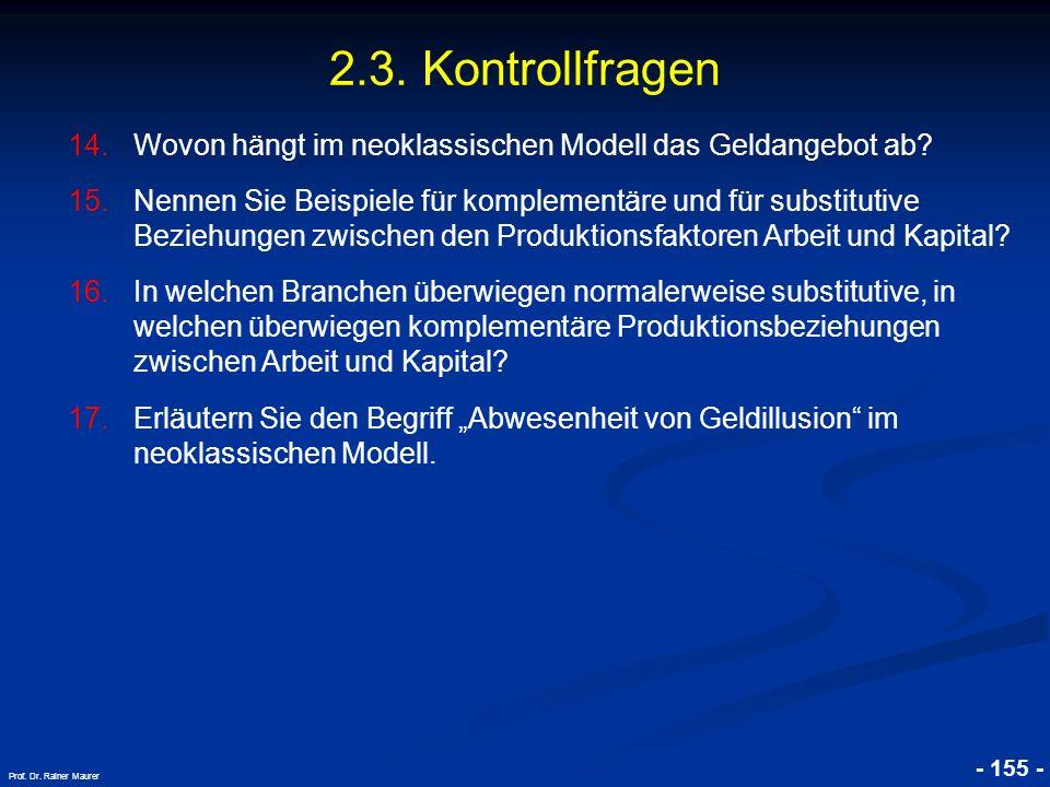 © RAINER MAURER, Pforzheim - 155 - Prof. Dr. Rainer Maurer 2.3. Kontrollfragen 14.Wovon hängt im neoklassischen Modell das Geldangebot ab? 15.Nennen S
