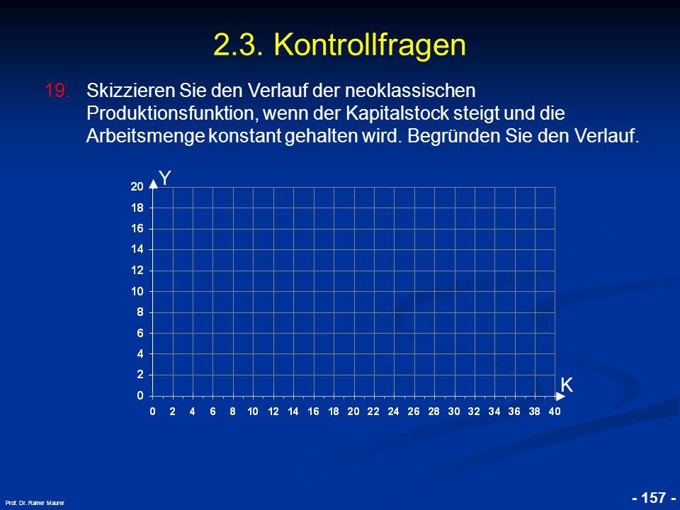 © RAINER MAURER, Pforzheim - 157 - Prof. Dr. Rainer Maurer 2.3. Kontrollfragen 19.Skizzieren Sie den Verlauf der neoklassischen Produktionsfunktion, w