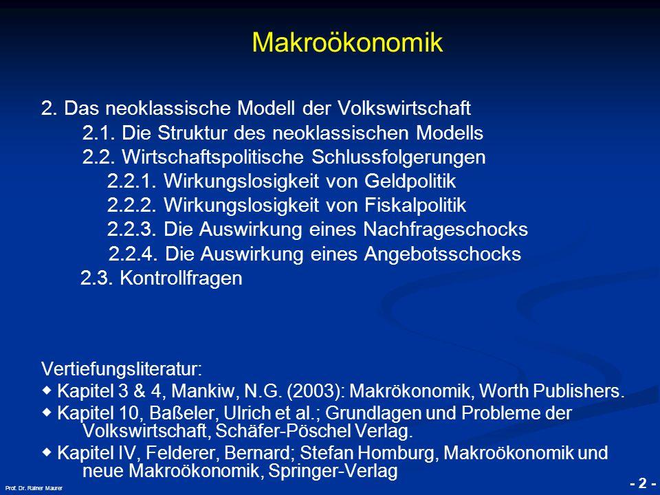 © RAINER MAURER, Pforzheim - 2 - Prof. Dr. Rainer Maurer Makroökonomik 2. Das neoklassische Modell der Volkswirtschaft 2.1. Die Struktur des neoklassi