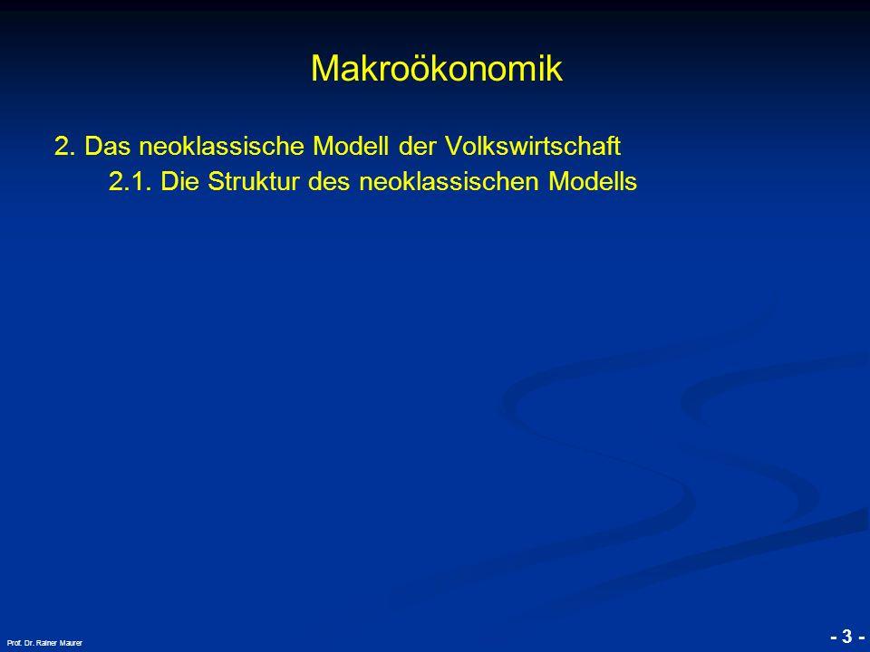 © RAINER MAURER, Pforzheim - 3 - Prof. Dr. Rainer Maurer Makroökonomik 2. Das neoklassische Modell der Volkswirtschaft 2.1. Die Struktur des neoklassi