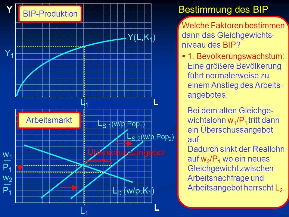 © RAINER MAURER, Pforzheim P1P1 w1w1 _ L Y L L1L1 L1L1 Y(L,K 1 ) Welche Faktoren bestimmen dann das Gleichgewichts- niveau des BIP? 1. Bevölkerungswac