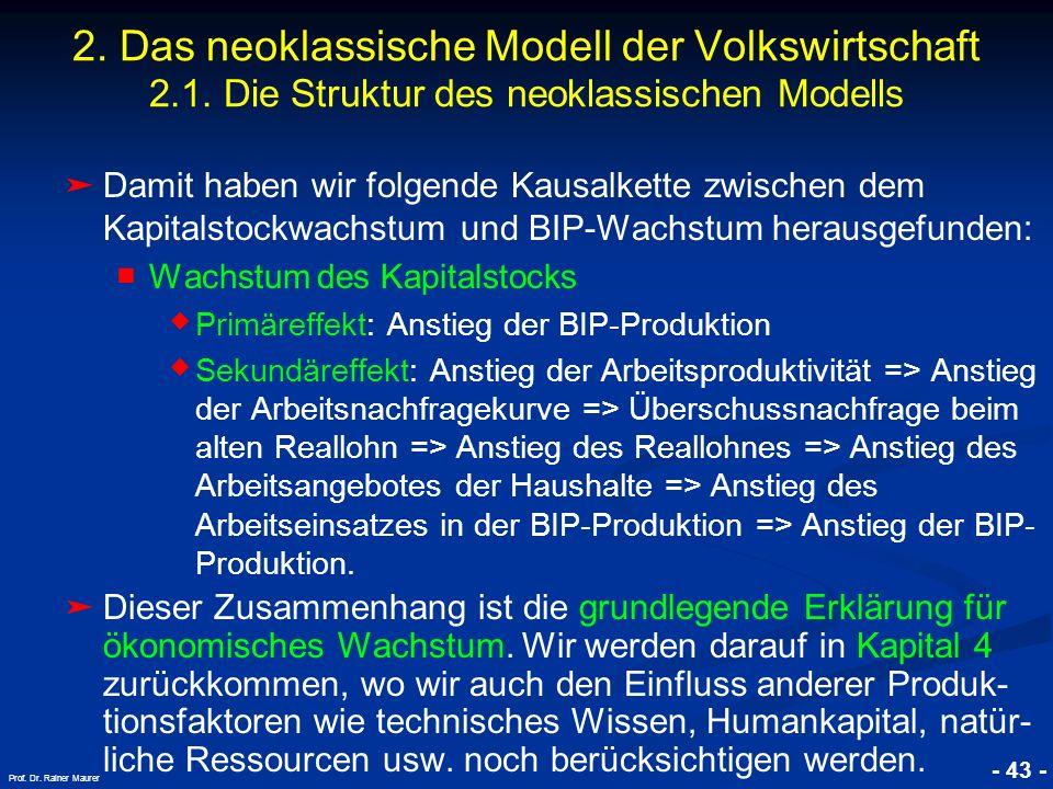 © RAINER MAURER, Pforzheim - 43 - Prof. Dr. Rainer Maurer Damit haben wir folgende Kausalkette zwischen dem Kapitalstockwachstum und BIP-Wachstum hera