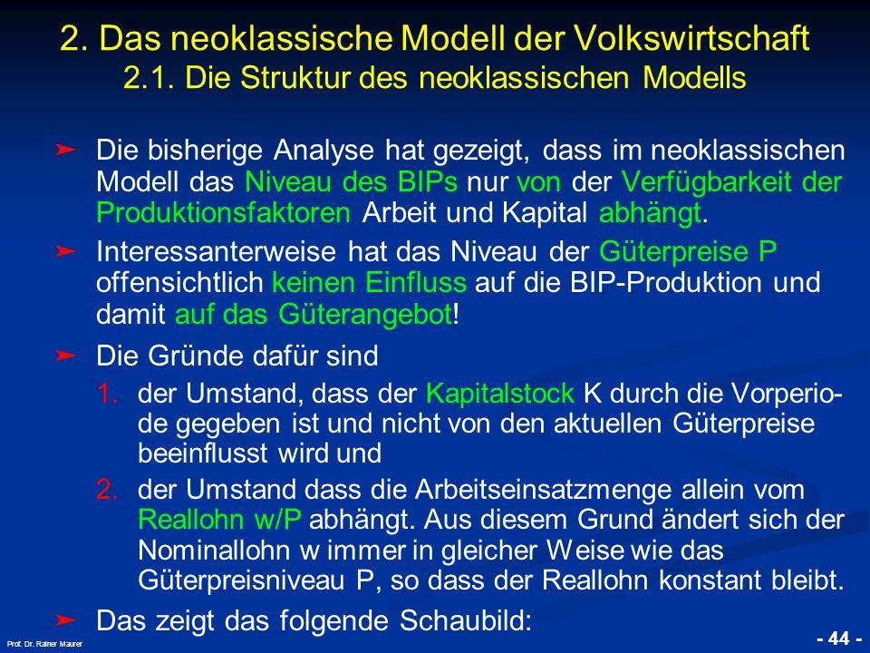 © RAINER MAURER, Pforzheim - 44 - Prof. Dr. Rainer Maurer Die bisherige Analyse hat gezeigt, dass im neoklassischen Modell das Niveau des BIPs nur von