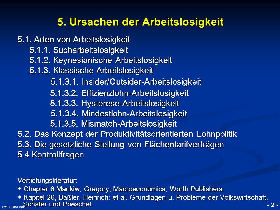 © RAINER MAURER, Pforzheim - 2 - Prof. Dr. Rainer Maure 5. Ursachen der Arbeitslosigkeit 5.1. Arten von Arbeitslosigkeit 5.1.1. Sucharbeitslosigkeit 5