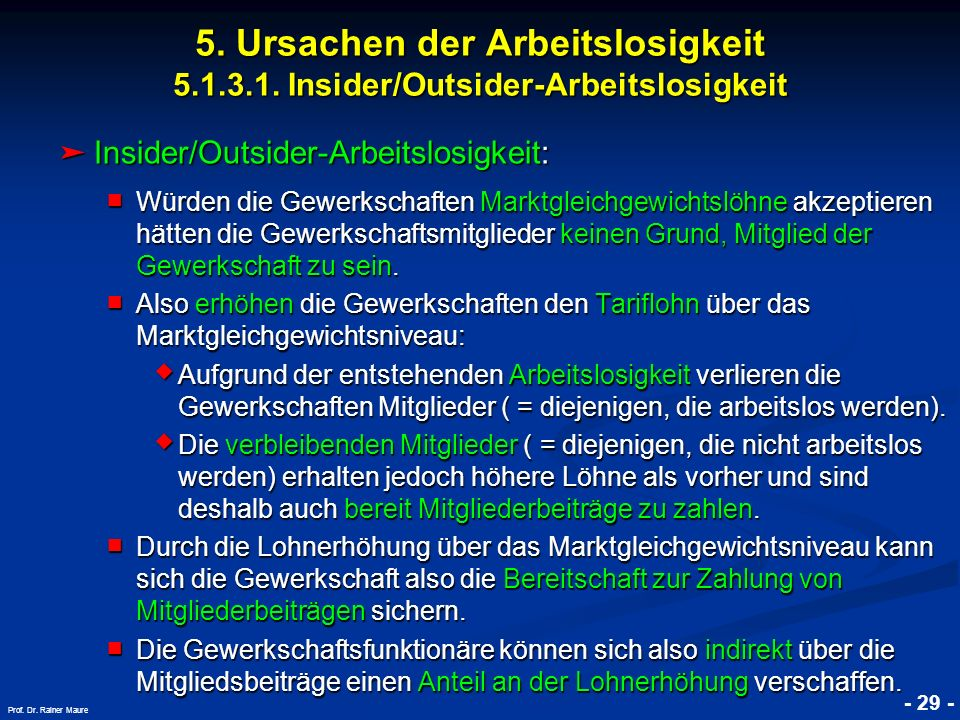 © RAINER MAURER, Pforzheim - 29 - Prof. Dr. Rainer Maure Insider/Outsider-Arbeitslosigkeit: Insider/Outsider-Arbeitslosigkeit: Würden die Gewerkschaft