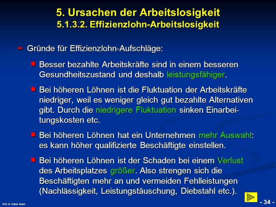 © RAINER MAURER, Pforzheim - 34 - Prof. Dr. Rainer Maure Gründe für Effizienzlohn-Aufschläge: Gründe für Effizienzlohn-Aufschläge: Besser bezahlte Arb