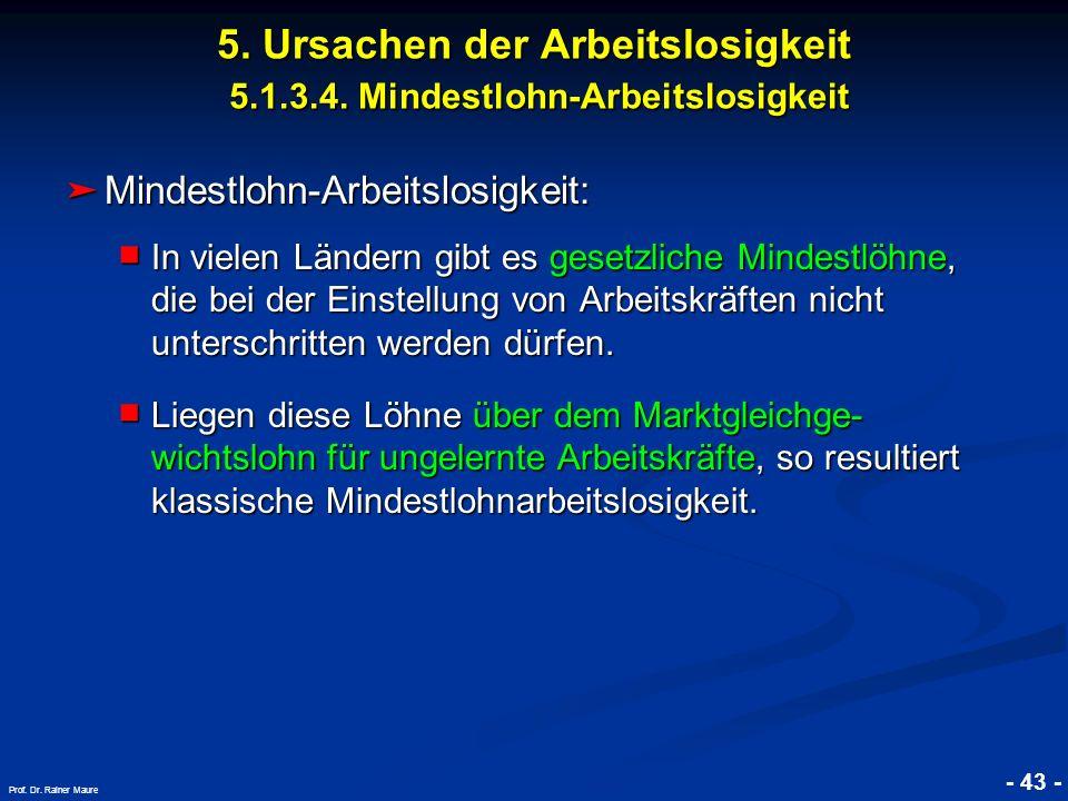 © RAINER MAURER, Pforzheim - 43 - Prof. Dr. Rainer Maure Mindestlohn-Arbeitslosigkeit: Mindestlohn-Arbeitslosigkeit: In vielen Ländern gibt es gesetzl