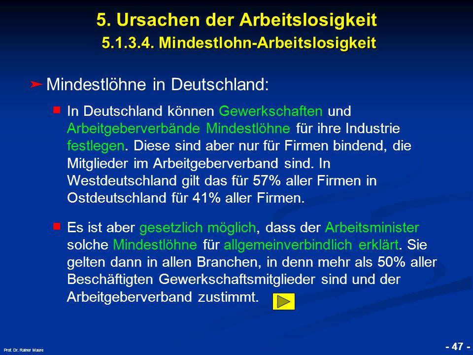 © RAINER MAURER, Pforzheim - 47 - Prof. Dr. Rainer Maure Mindestlöhne in Deutschland: In Deutschland können Gewerkschaften und Arbeitgeberverbände Min