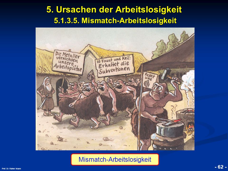 © RAINER MAURER, Pforzheim - 62 - Prof. Dr. Rainer Maure 5. Ursachen der Arbeitslosigkeit 5.1.3.5. Mismatch-Arbeitslosigkeit Mismatch-Arbeitslosigkeit