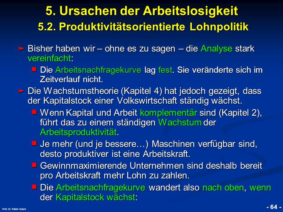 © RAINER MAURER, Pforzheim - 64 - Prof. Dr. Rainer Maure Bisher haben wir – ohne es zu sagen – die Analyse stark vereinfacht: Bisher haben wir – ohne