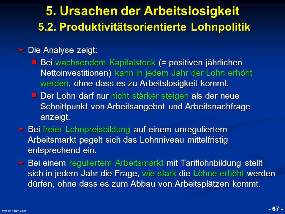 © RAINER MAURER, Pforzheim - 67 - Prof. Dr. Rainer Maure Die Analyse zeigt: Die Analyse zeigt: Bei wachsendem Kapitalstock (= positiven jährlichen Net