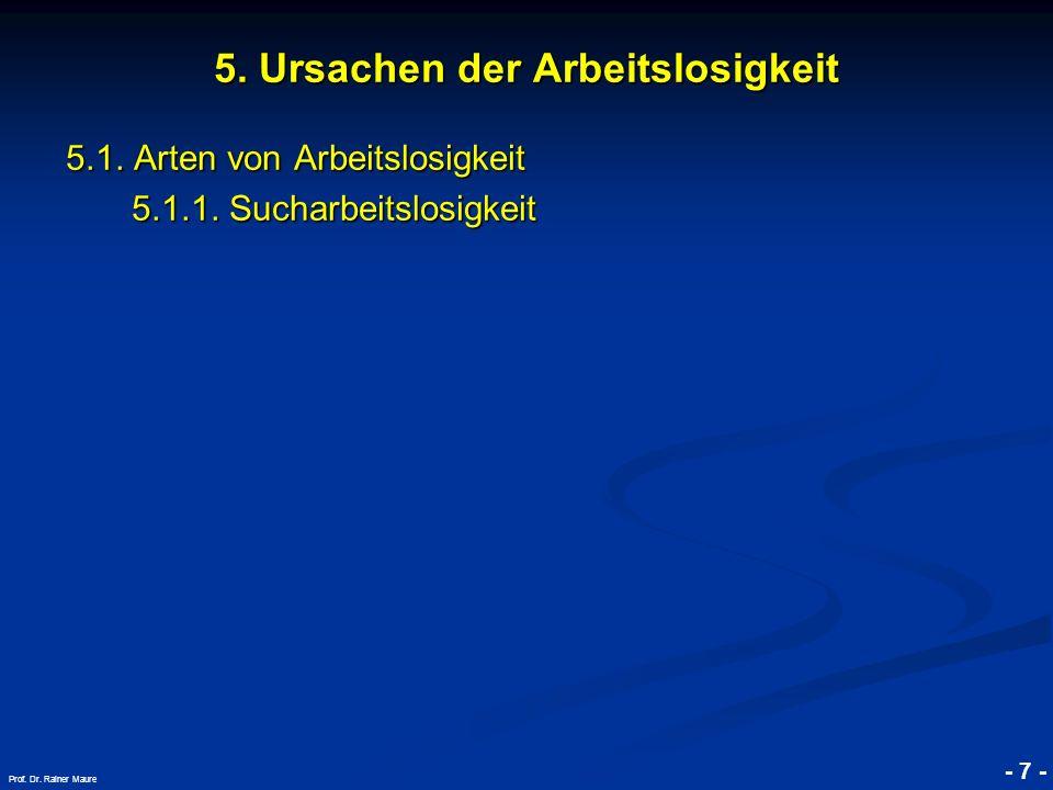 © RAINER MAURER, Pforzheim - 7 - Prof. Dr. Rainer Maure 5.1. Arten von Arbeitslosigkeit 5.1.1. Sucharbeitslosigkeit 5. Ursachen der Arbeitslosigkeit