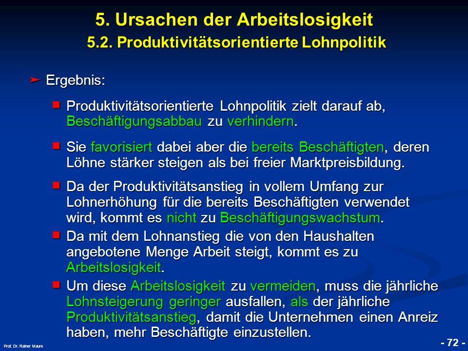 © RAINER MAURER, Pforzheim - 72 - Prof. Dr. Rainer Maure Ergebnis: Ergebnis: Produktivitätsorientierte Lohnpolitik zielt darauf ab, Beschäftigungsabba
