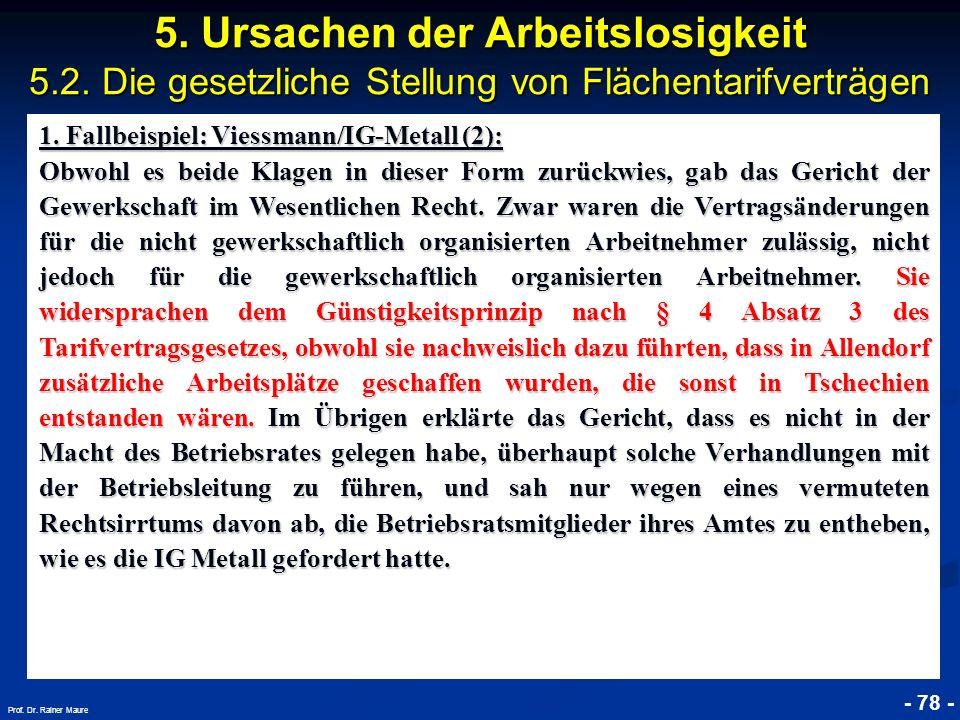 © RAINER MAURER, Pforzheim - 78 - Prof. Dr. Rainer Maure 5. Ursachen der Arbeitslosigkeit 5.2. Die gesetzliche Stellung von Flächentarifverträgen 1. F