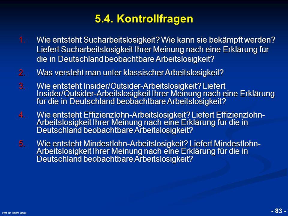© RAINER MAURER, Pforzheim - 83 - Prof. Dr. Rainer Maure 5.4. Kontrollfragen 1.Wie entsteht Sucharbeitslosigkeit? Wie kann sie bekämpft werden? Liefer