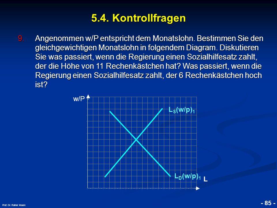 © RAINER MAURER, Pforzheim - 85 - Prof. Dr. Rainer Maure L L D (w/p) 1 L S (w/p) 1 w/P 9.Angenommen w/P entspricht dem Monatslohn. Bestimmen Sie den g