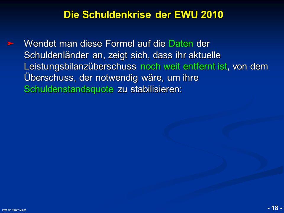 © RAINER MAURER, Pforzheim - 18 - Prof. Dr. Rainer Maure Wendet man diese Formel auf die Daten der Schuldenländer an, zeigt sich, dass ihr aktuelle Le