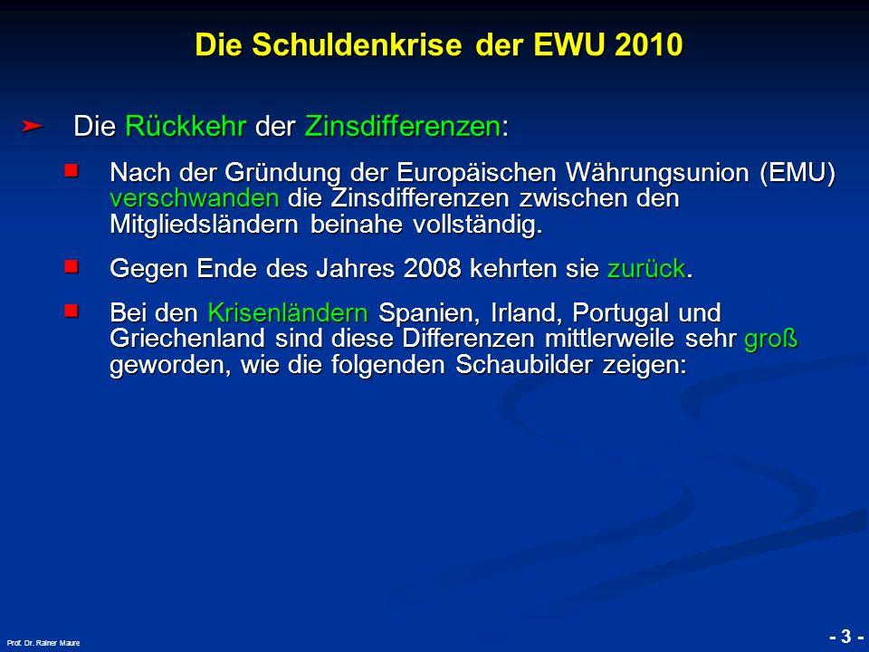 © RAINER MAURER, Pforzheim - 3 - Prof. Dr. Rainer Maure Die Rückkehr der Zinsdifferenzen: Die Rückkehr der Zinsdifferenzen: Nach der Gründung der Euro