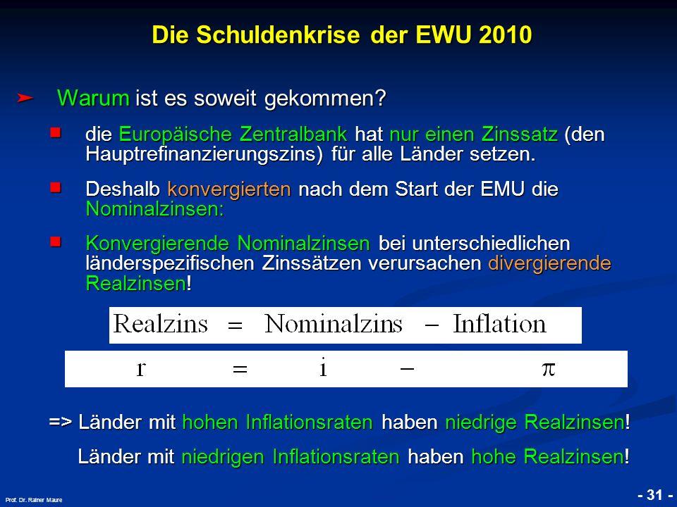 © RAINER MAURER, Pforzheim - 31 - Prof. Dr. Rainer Maure Warum ist es soweit gekommen? Warum ist es soweit gekommen? die Europäische Zentralbank hat n