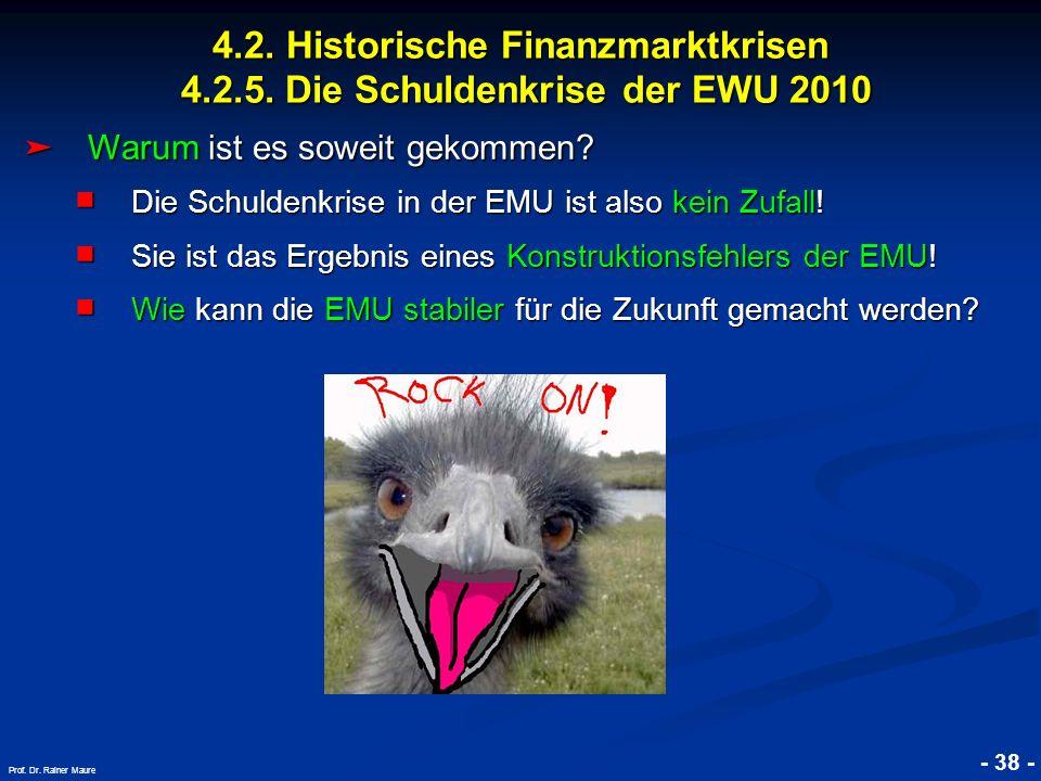 © RAINER MAURER, Pforzheim - 38 - Prof. Dr. Rainer Maure Warum ist es soweit gekommen? Warum ist es soweit gekommen? Die Schuldenkrise in der EMU ist