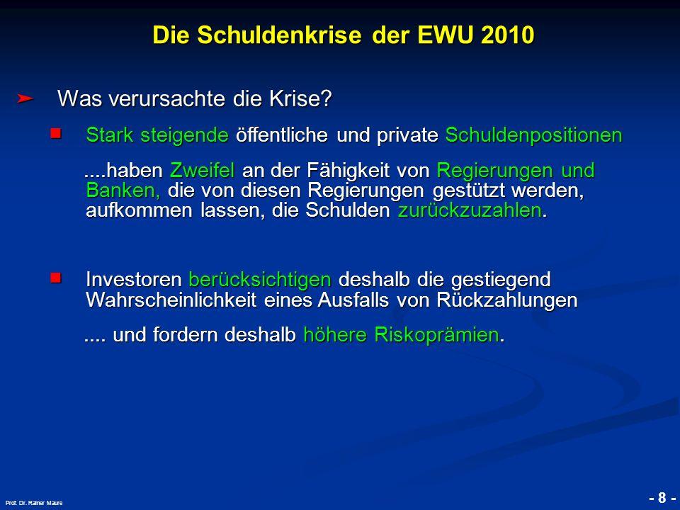 © RAINER MAURER, Pforzheim - 8 - Prof. Dr. Rainer Maure Was verursachte die Krise? Was verursachte die Krise? Stark steigende öffentliche und private
