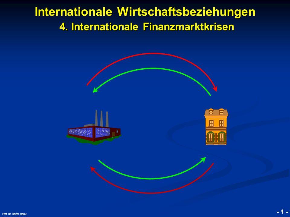 © RAINER MAURER, Pforzheim Internationale Wirtschaftsbeziehungen 4. Internationale Finanzmarktkrisen - 1 - Prof. Dr. Rainer Maure