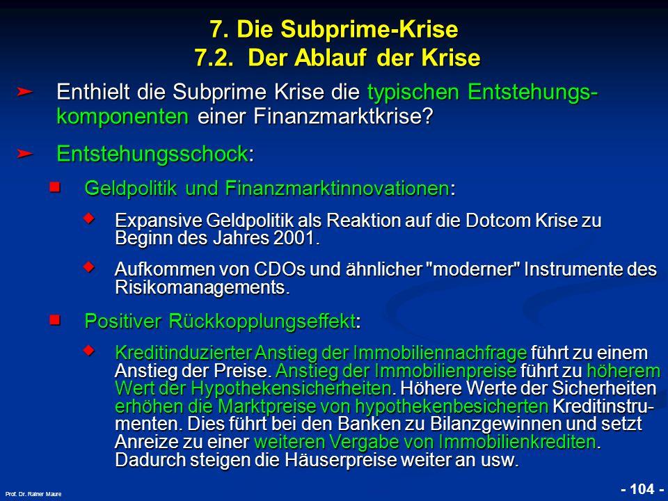 © RAINER MAURER, Pforzheim 7. Die Subprime-Krise 7.2. Der Ablauf der Krise - 104 - Prof. Dr. Rainer Maure Enthielt die Subprime Krise die typischen En