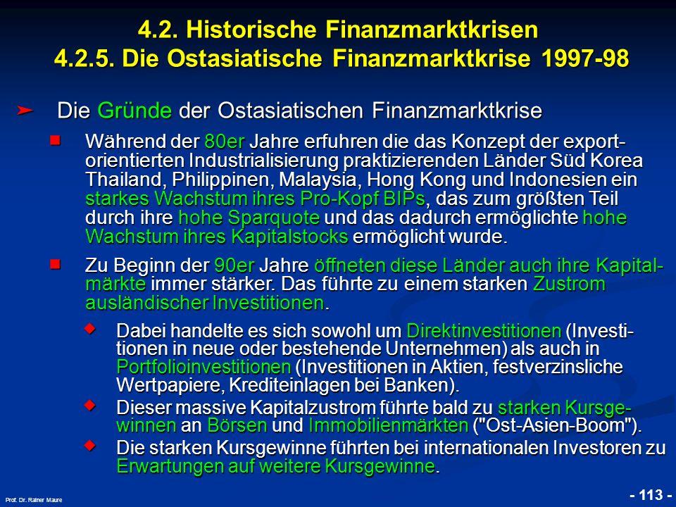 © RAINER MAURER, Pforzheim 4.2. Historische Finanzmarktkrisen 4.2.5. Die Ostasiatische Finanzmarktkrise 1997-98 - 113 - Prof. Dr. Rainer Maure Die Grü
