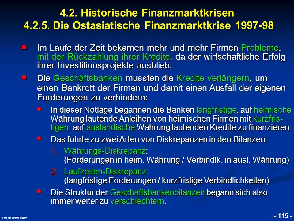 © RAINER MAURER, Pforzheim 4.2. Historische Finanzmarktkrisen 4.2.5. Die Ostasiatische Finanzmarktkrise 1997-98 - 115 - Prof. Dr. Rainer Maure Im Lauf