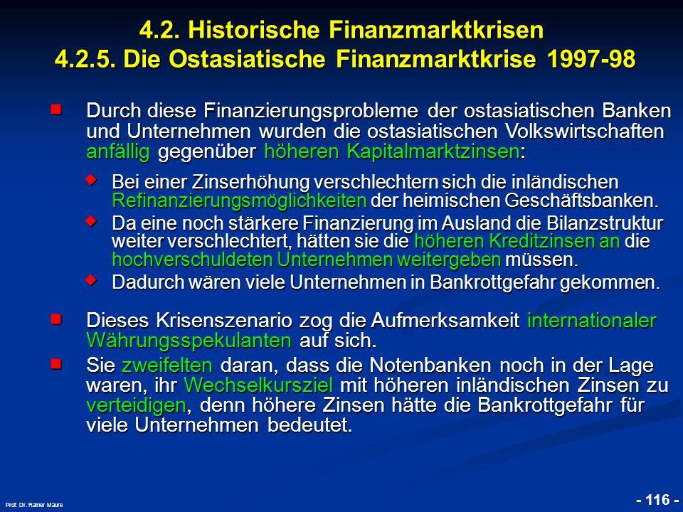 © RAINER MAURER, Pforzheim 4.2. Historische Finanzmarktkrisen 4.2.5. Die Ostasiatische Finanzmarktkrise 1997-98 - 116 - Prof. Dr. Rainer Maure Durch d