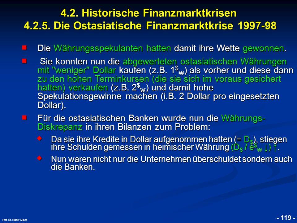 © RAINER MAURER, Pforzheim 4.2. Historische Finanzmarktkrisen 4.2.5. Die Ostasiatische Finanzmarktkrise 1997-98 - 119 - Prof. Dr. Rainer Maure Die Wäh