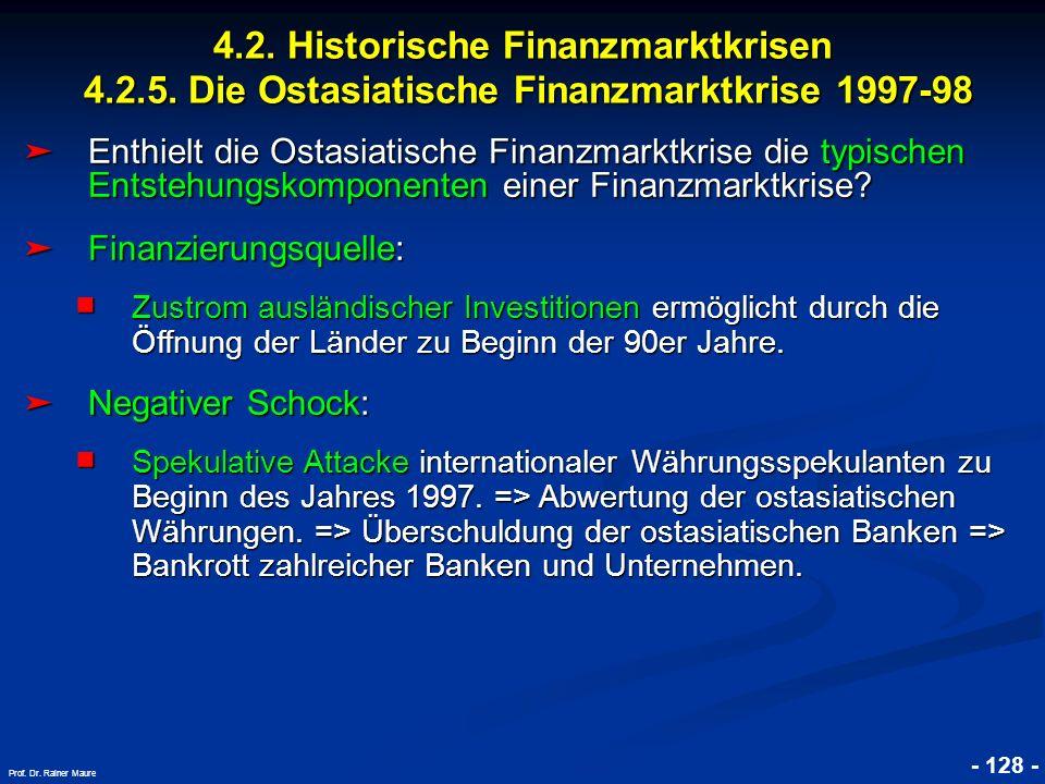 © RAINER MAURER, Pforzheim 4.2. Historische Finanzmarktkrisen 4.2.5. Die Ostasiatische Finanzmarktkrise 1997-98 - 128 - Prof. Dr. Rainer Maure Enthiel