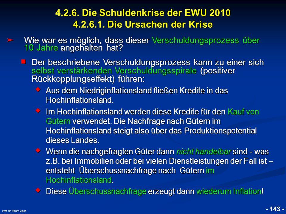 © RAINER MAURER, Pforzheim 4.2.6. Die Schuldenkrise der EWU 2010 4.2.6.1. Die Ursachen der Krise - 143 - Prof. Dr. Rainer Maure Wie war es möglich, da