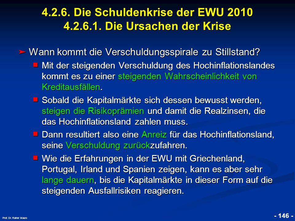© RAINER MAURER, Pforzheim - 146 - Prof. Dr. Rainer Maure Wann kommt die Verschuldungsspirale zu Stillstand? Wann kommt die Verschuldungsspirale zu St