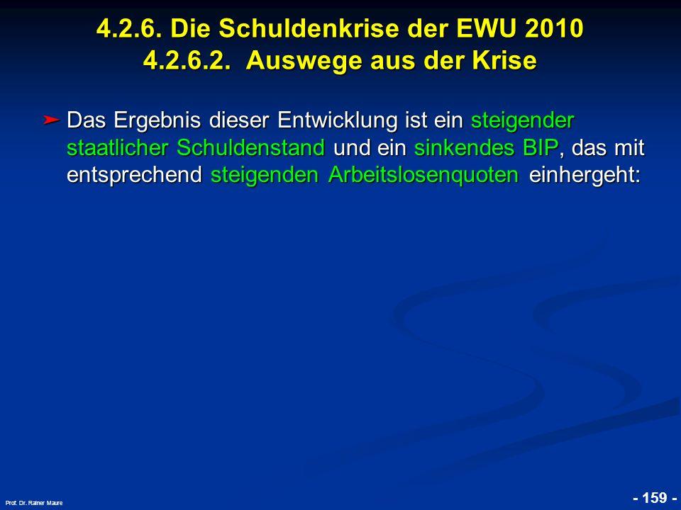 © RAINER MAURER, Pforzheim - 159 - Prof. Dr. Rainer Maure Das Ergebnis dieser Entwicklung ist ein steigender staatlicher Schuldenstand und ein sinkend