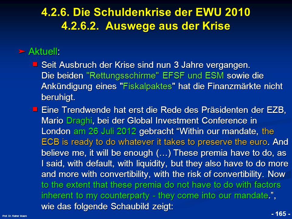 © RAINER MAURER, Pforzheim - 165 - Prof. Dr. Rainer Maure Aktuell: Aktuell: Seit Ausbruch der Krise sind nun 3 Jahre vergangen. Die beiden