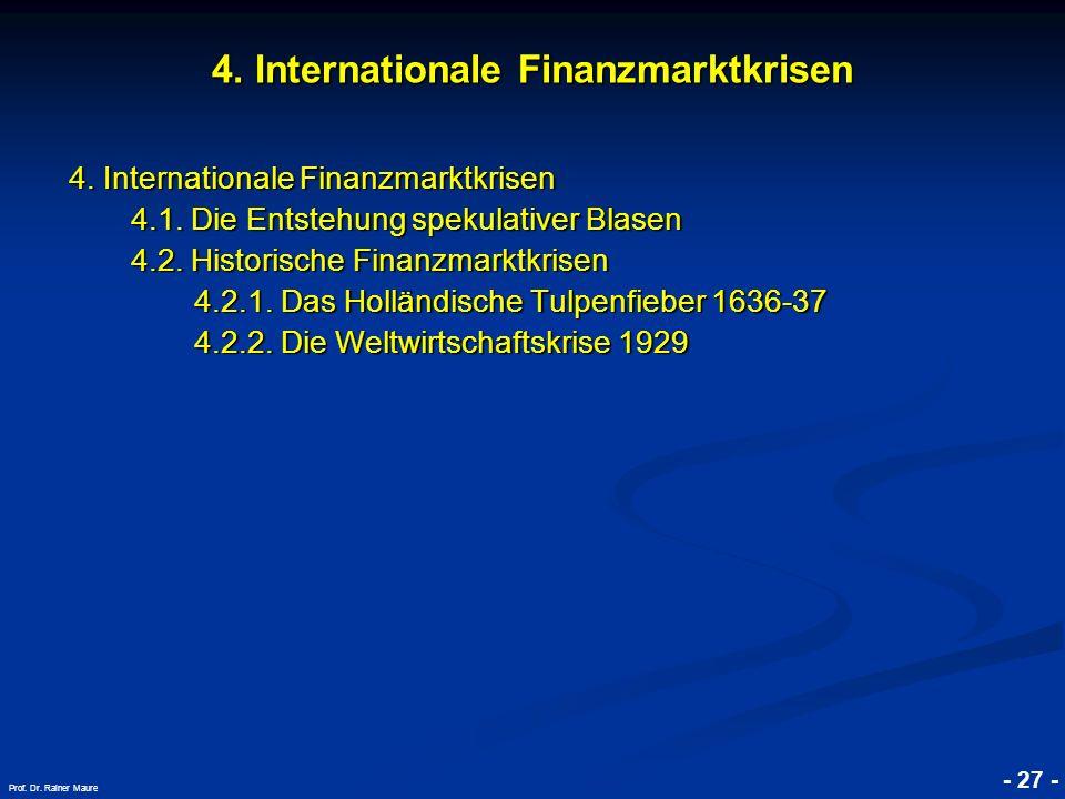 © RAINER MAURER, Pforzheim 4. Internationale Finanzmarktkrisen 4.1. Die Entstehung spekulativer Blasen 4.2. Historische Finanzmarktkrisen 4.2.1. Das H