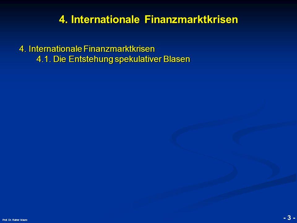 © RAINER MAURER, Pforzheim 4. Internationale Finanzmarktkrisen 4.1. Die Entstehung spekulativer Blasen - 3 - Prof. Dr. Rainer Maure