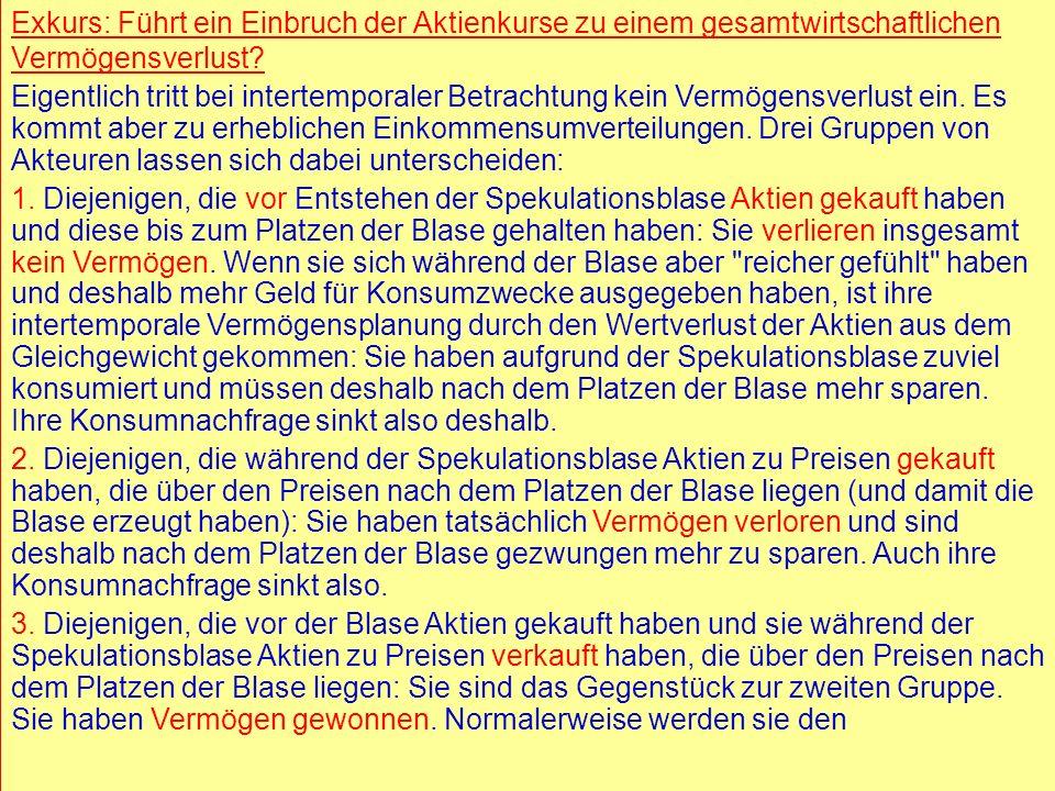 © RAINER MAURER, Pforzheim - 38 - Prof. Dr. Rainer Maure - 38 - Prof. Dr. Rainer Maurer Exkurs: Führt ein Einbruch der Aktienkurse zu einem gesamtwirt