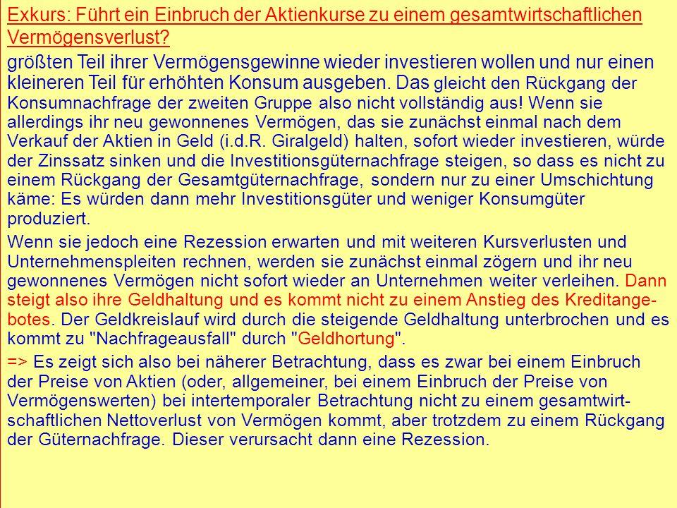 © RAINER MAURER, Pforzheim - 39 - Prof. Dr. Rainer Maure - 39 - Prof. Dr. Rainer Maurer Exkurs: Führt ein Einbruch der Aktienkurse zu einem gesamtwirt