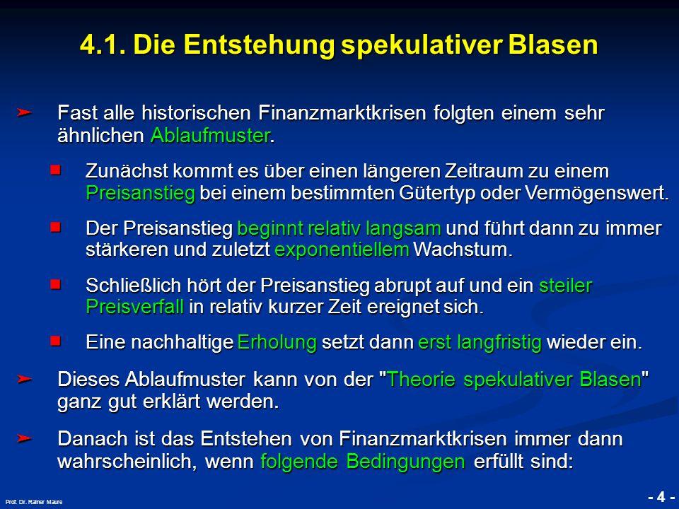 © RAINER MAURER, Pforzheim 4.1. Die Entstehung spekulativer Blasen - 4 - Prof. Dr. Rainer Maure Fast alle historischen Finanzmarktkrisen folgten einem