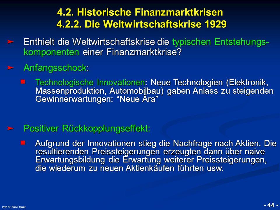 © RAINER MAURER, Pforzheim 4.2. Historische Finanzmarktkrisen 4.2.2. Die Weltwirtschaftskrise 1929 - 44 - Prof. Dr. Rainer Maure Enthielt die Weltwirt