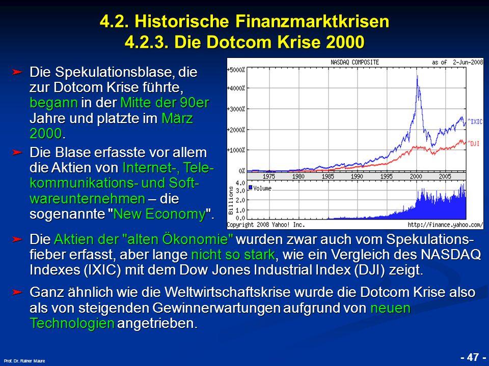 © RAINER MAURER, Pforzheim 4.2. Historische Finanzmarktkrisen 4.2.3. Die Dotcom Krise 2000 - 47 - Prof. Dr. Rainer Maure Die Spekulationsblase, die zu
