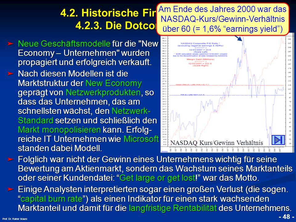 © RAINER MAURER, Pforzheim 4.2. Historische Finanzmarktkrisen 4.2.3. Die Dotcom Krise 2000 - 48 - Prof. Dr. Rainer Maure Neue Geschäftsmodelle für die