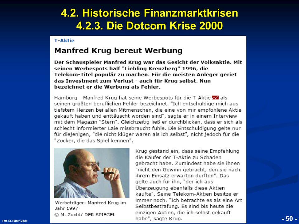 © RAINER MAURER, Pforzheim 4.2. Historische Finanzmarktkrisen 4.2.3. Die Dotcom Krise 2000 - 50 - Prof. Dr. Rainer Maure