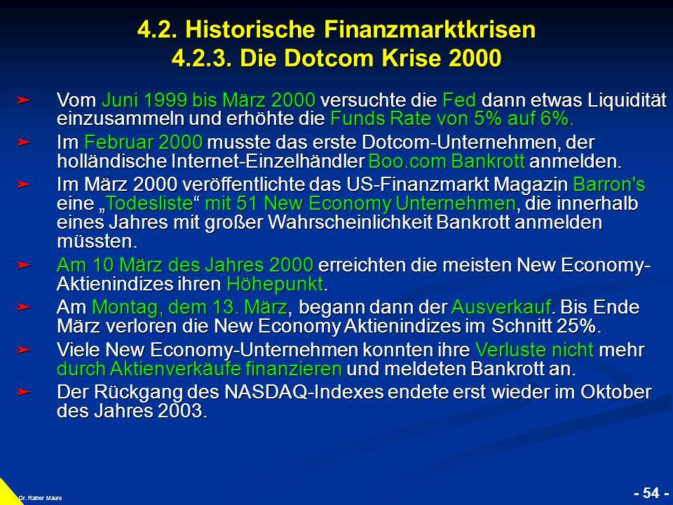 © RAINER MAURER, Pforzheim 4.2. Historische Finanzmarktkrisen 4.2.3. Die Dotcom Krise 2000 - 54 - Prof. Dr. Rainer Maure Vom Juni 1999 bis März 2000 v